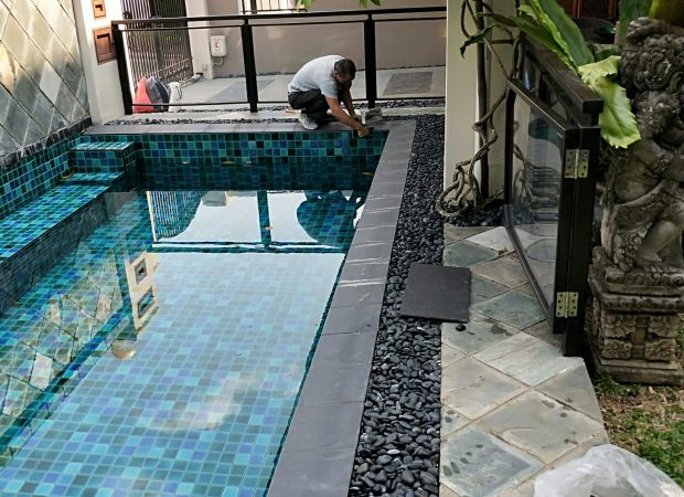Swimming Pool Tiles Installation at Pavilion Circle